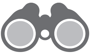 Grey icon of binoculars