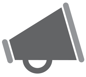 Grey icon of a bullhorn